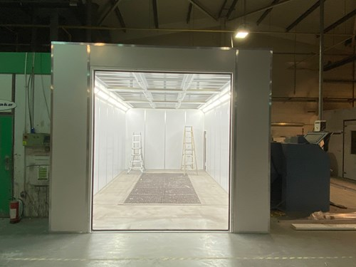 Image of the Poseidon spray booth install mid way through